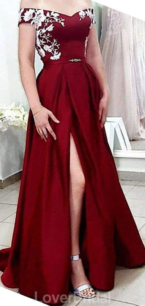 Off Shoulder Dark Red Side Slit Cheap Evening Prom Dresses, Evening Party Prom Dresses, 12148