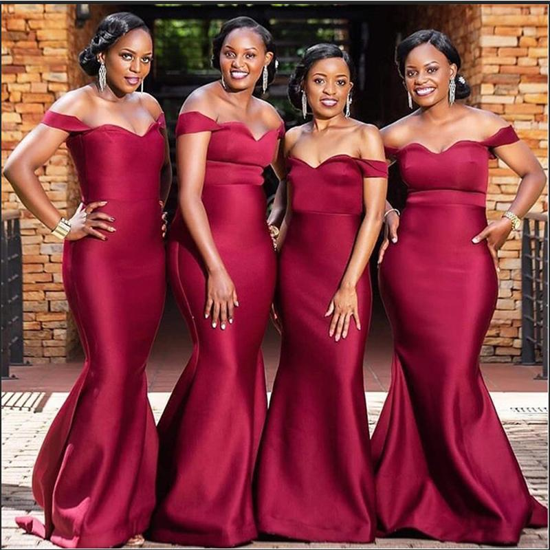 Off Shoulder Dark Red Simple Cheap Bridesmaid Dresses Online, WG779