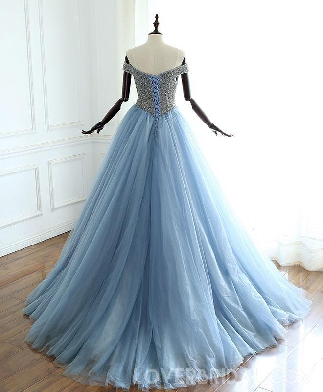Off Shoulder Dusty Blue Beaded A-line Long Evening Prom Dresses, Cheap Sweet 16 Dresses, 18413