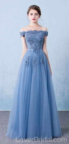 Off Shoulder Dusty Blue Long Evening Prom Dresses, Cheap Custom Party Prom Dresses, 18591