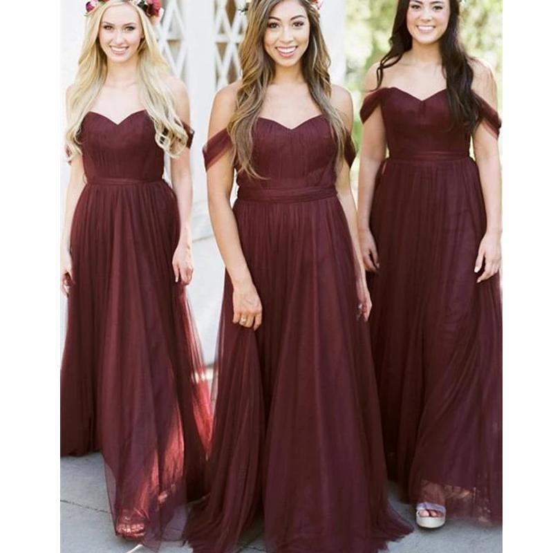 Off Shoulder Dusty Red Long Bridesmaid Dresses Online, Cheap Bridesmaids Dresses, WG744