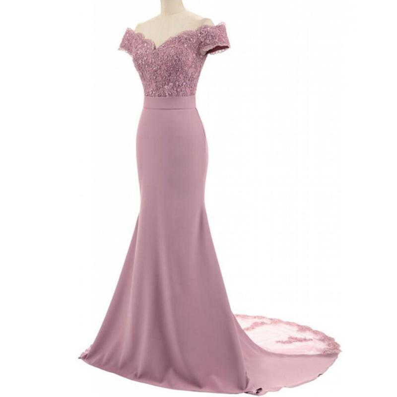 Off Shoulder Duty Rose Mermaid Cheap Bridesmaid Dresses Online, WG771