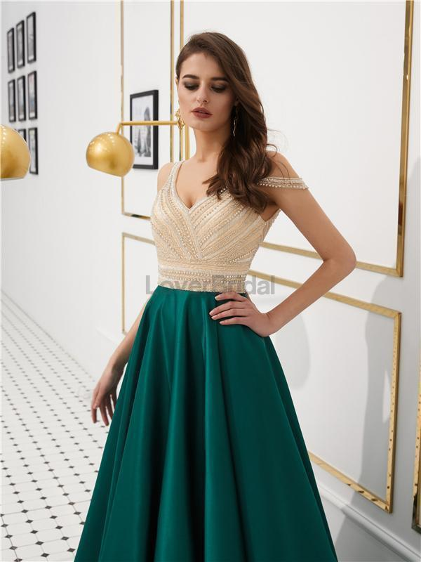 Off Shoulder Emerald Green Beaded Evening Prom Dresses, Evening Party Prom Dresses, 12079