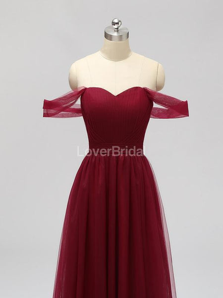 Off Shoulder Floor Length Dark Red Tulle Cheap Bridesmaid Dresses Online, WG589