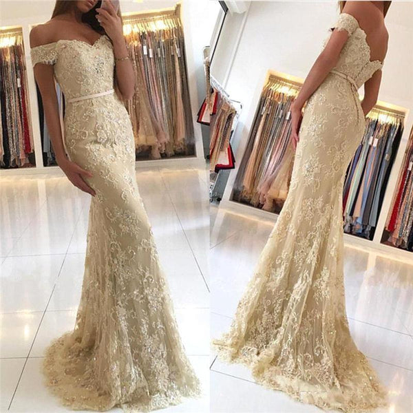 Off Shoulder Gold Lace Mermaid Evening Prom Dresses, Fashion Party Prom Dresses, Custom Long Prom Dresses, Cheap Formal Prom Dresses, 17163