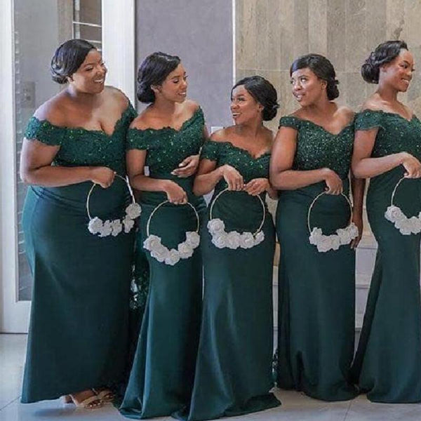 Off Shoulder Green Lace Applique Mermaid Short Cheap Bridesmaid Dresses Online, WG662