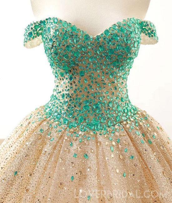 Off Shoulder Green Rhinestone Ball Gown Long Evening Prom Dresses, Cheap Sweet 16 Dresses, 18434