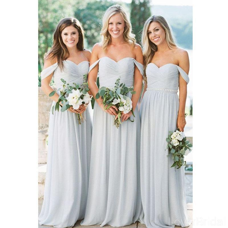 Off Shoulder Grey Chiffon Long Cheap Bridesmaid Dresses Online, WG606
