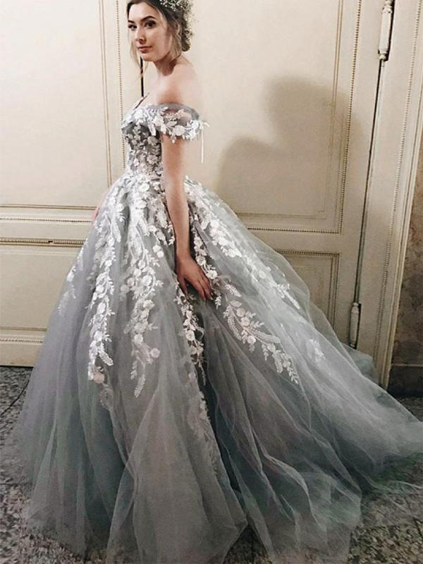 Off Shoulder Grey Lace Beaded A-line Long Evening Prom Dresses, Cheap Sweet 16 Dresses, 18325