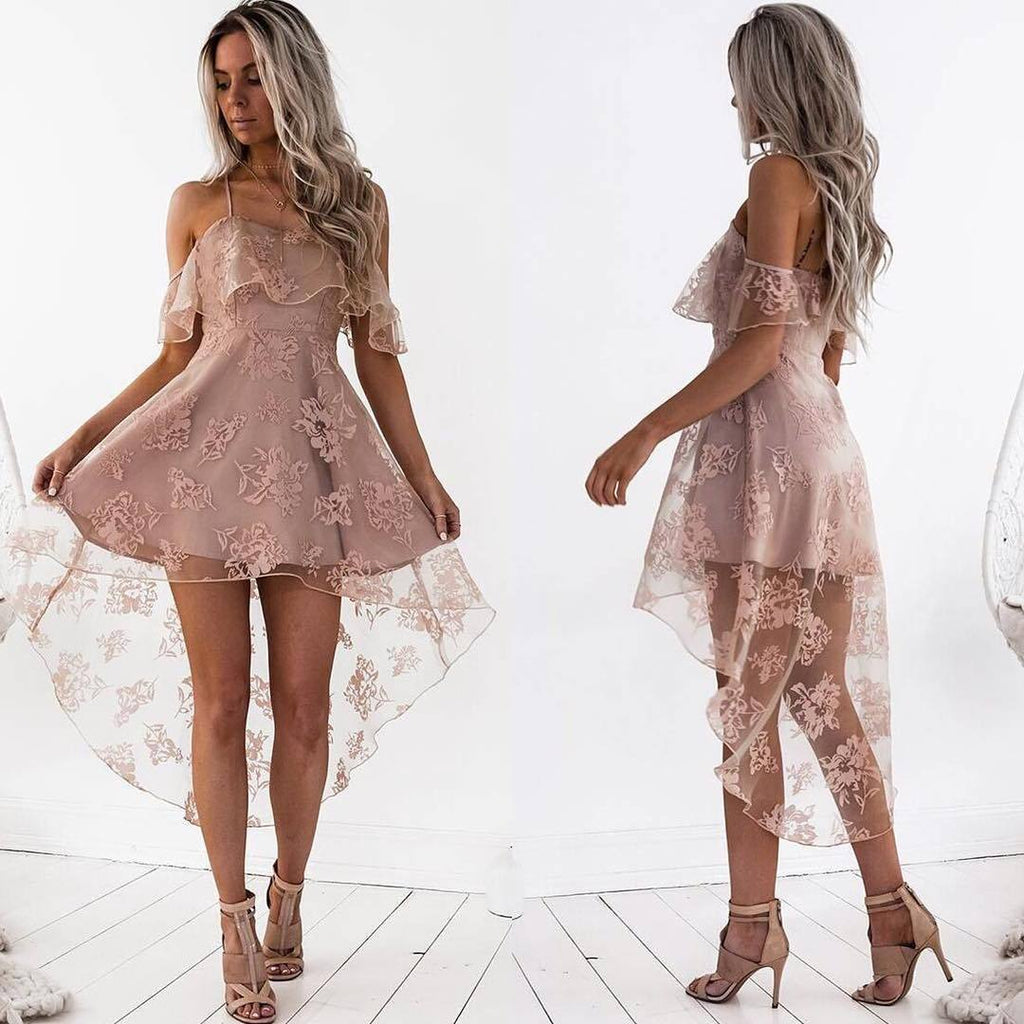 Off Shoulder High Low Dusty Pink Lace Homecoming Dresses 2018, CM440
