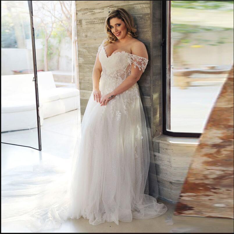 Off Shoulder Lace Applique Plus Size Wedding Dresses Online, Cheap Bridal Dresses, WD647
