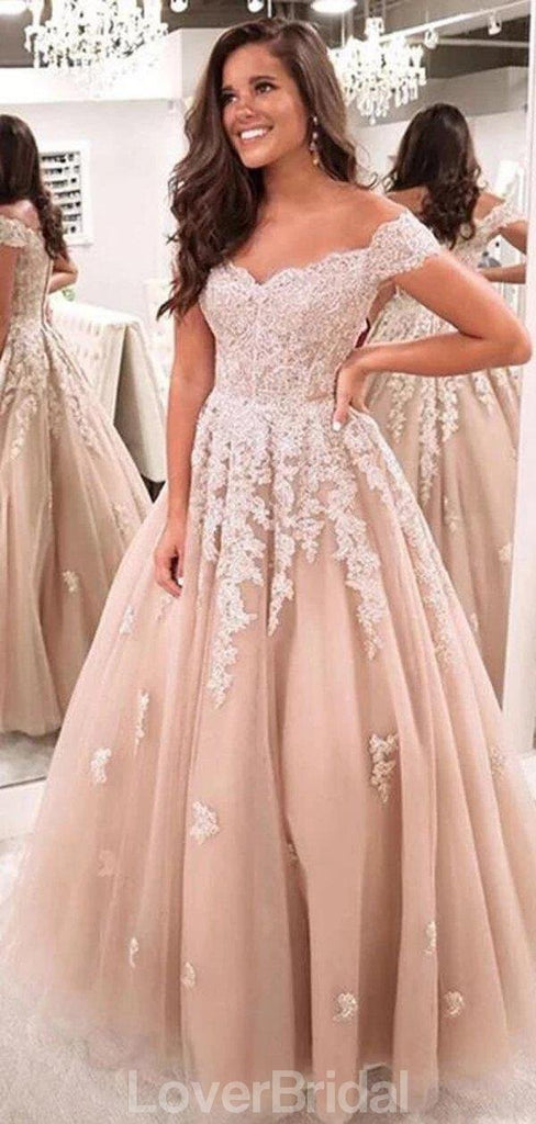 Off Shoulder Lace Beaded A-line Cheap Evening Prom Dresses, Evening Party Prom Dresses, 12182