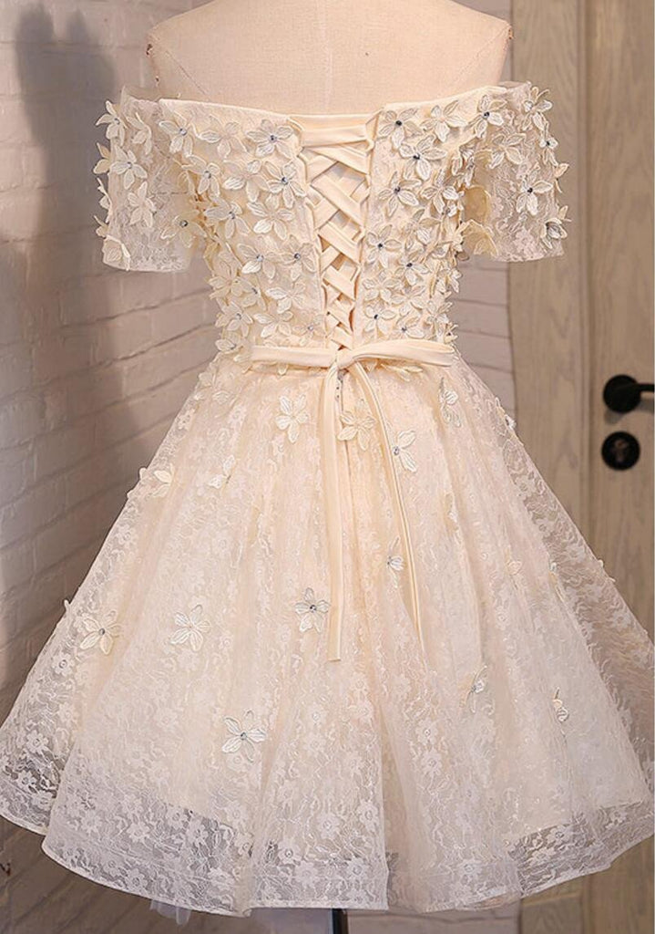 Off Shoulder Lace Beaded Homecoming Prom Dresses, Affordable Short Party Prom Dresses, Perfect Homecoming Dresses, CM277