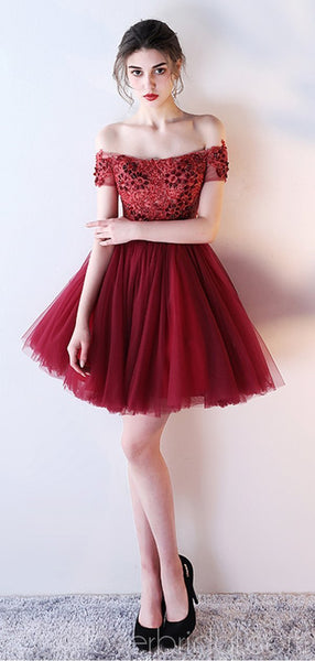 Off Shoulder Lace Beaded See Through Red Homecoming Dresses Online, Cheap Short Prom Dresses, CM790
