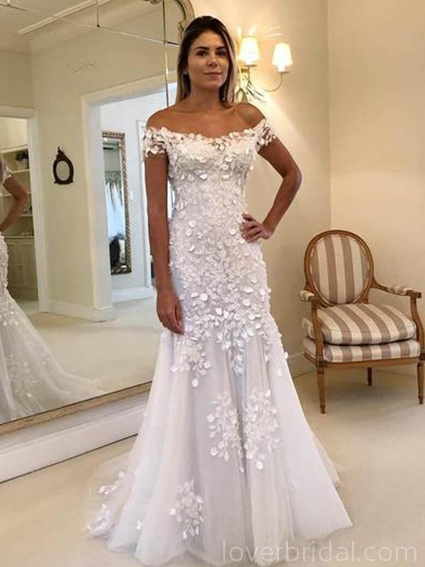 Off Shoulder Lace Mermaid Long Wedding Dresses Online, Cheap Bridal Dresses, WD548