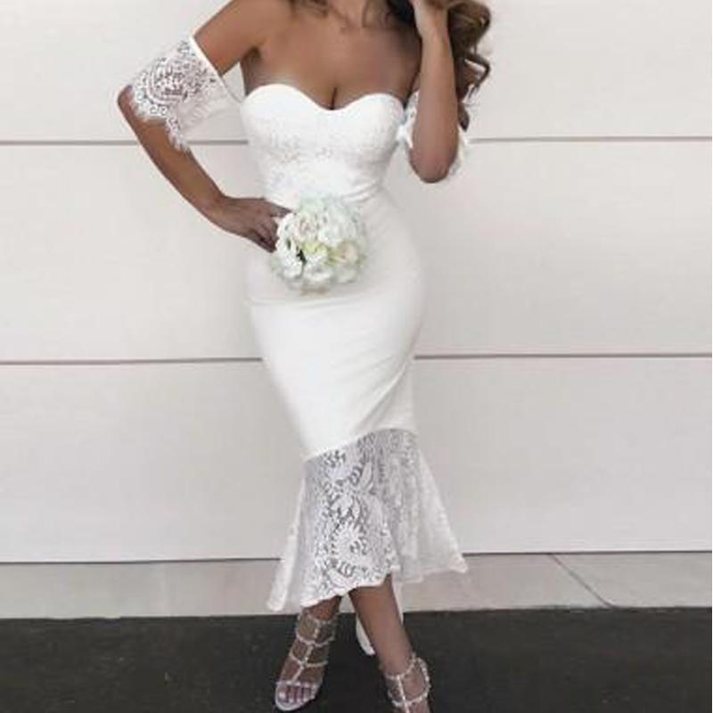 Off Shoulder Lace Short Sleeve Mermaid Short Bridesmaid Dresses Online, WG275