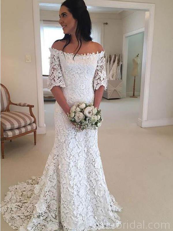 Off Shoulder Lace Short Sleeves Cheap Wedding Dresses Online, Cheap Bridal Dresses, WD549