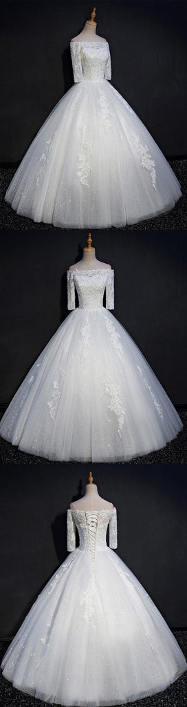Off Shoulder Long Sleeve Lace Beaded A line Wedding Dresses, Custom Made Wedding Dresses, Cheap Wedding Gowns, WD213