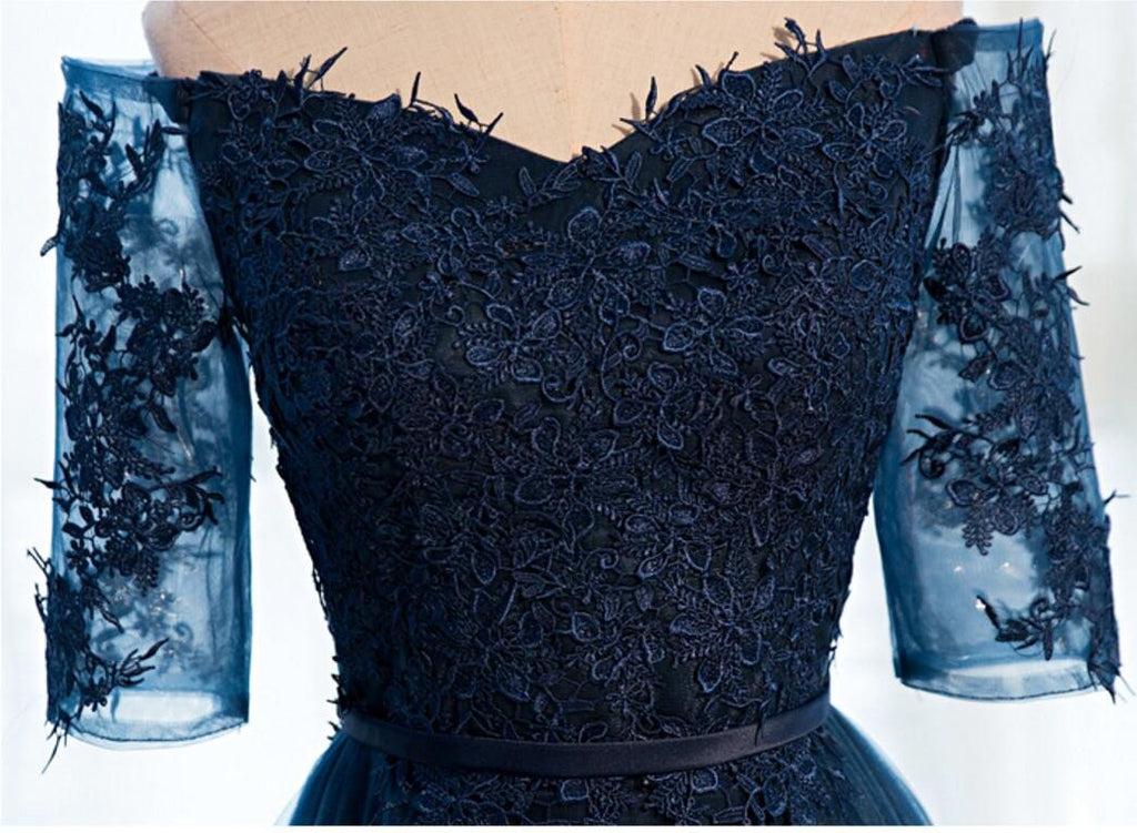 Off Shoulder Long Sleeve Navy Lace A line  Cheap Evening Party Long Prom Dresses, WG232