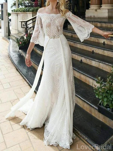 Off Shoulder Long Sleeves Lace Wedding Dresses Online, Cheap Unique Bridal Dresses, WD595