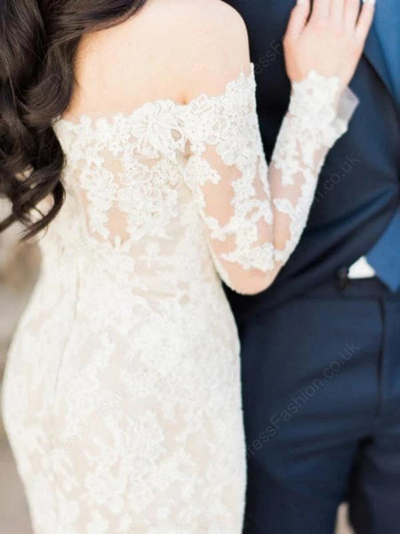 Off Shoulder Long Sleeves Mermaid Cheap Wedding Dresses Online, Cheap Bridal Dresses, WD612