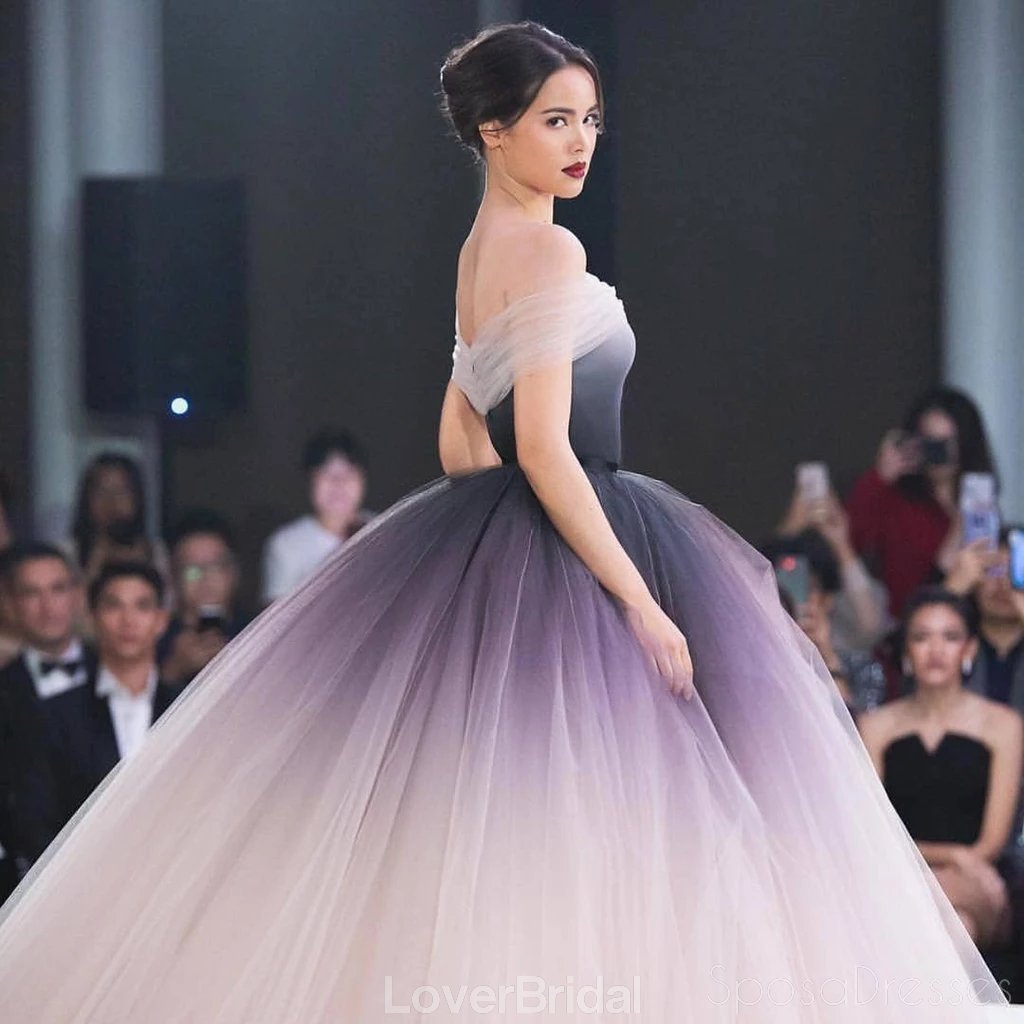 Off Shoulder Ombre Ball Gown Long Evening Prom Dresses, Evening Party Prom Dresses, 12199