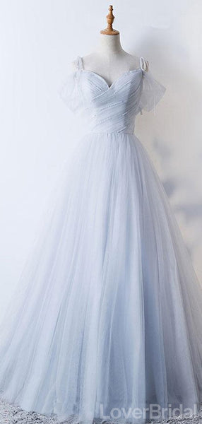 Off Shoulder Pale Blue Tulle A-line Long Evening Prom Dresses, Cheap Party Custom Prom Dresses, 18626