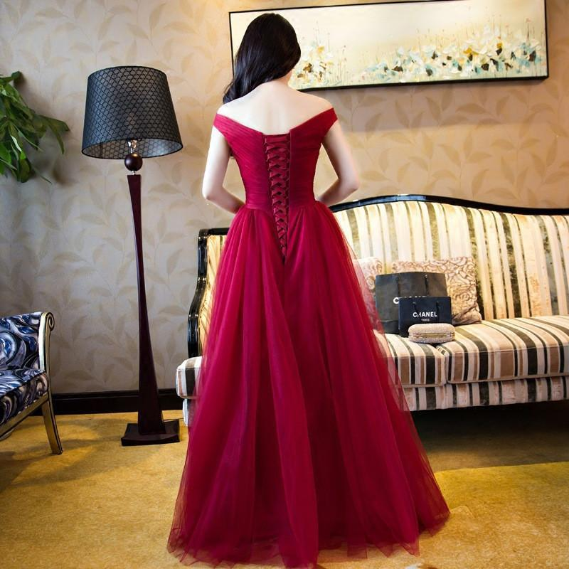 Off Shoulder Red A line Evening Prom Dresses, Long Tulle Party Prom Dress, Custom Long Prom Dresses, Cheap Formal Prom Dresses, 17069