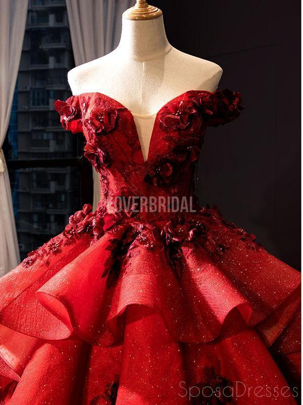 Off Shoulder Red Ball Gown Long Evening Prom Dresses, Evening Party Prom Dresses, 12259