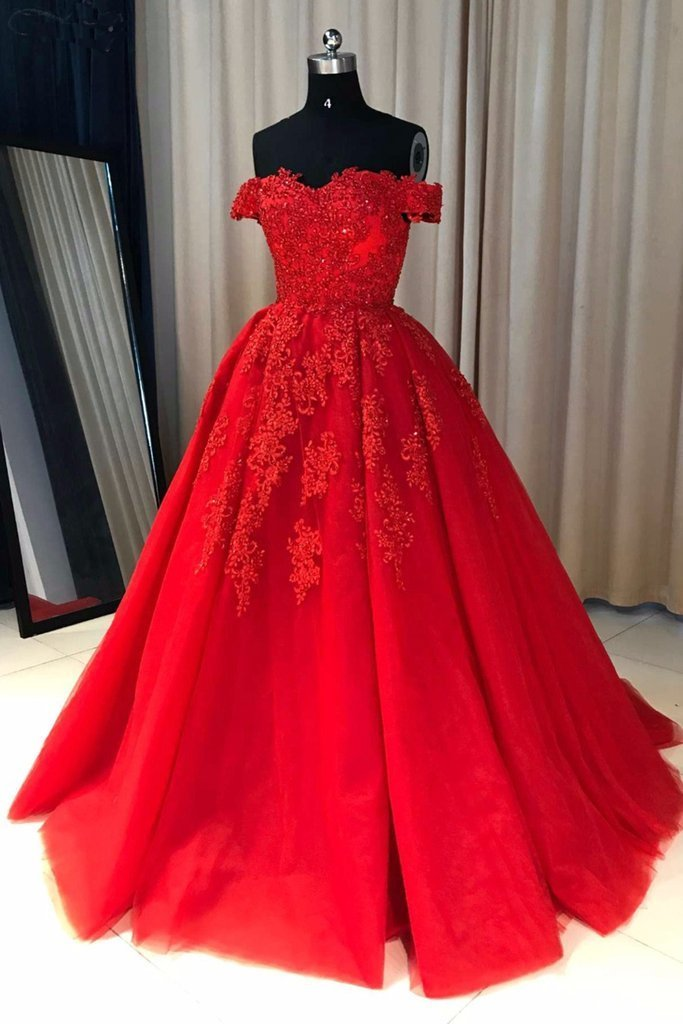 Off Shoulder Red Lace A-line Cheap Evening Prom Dresses, Sweet 16 Dresses, 17501