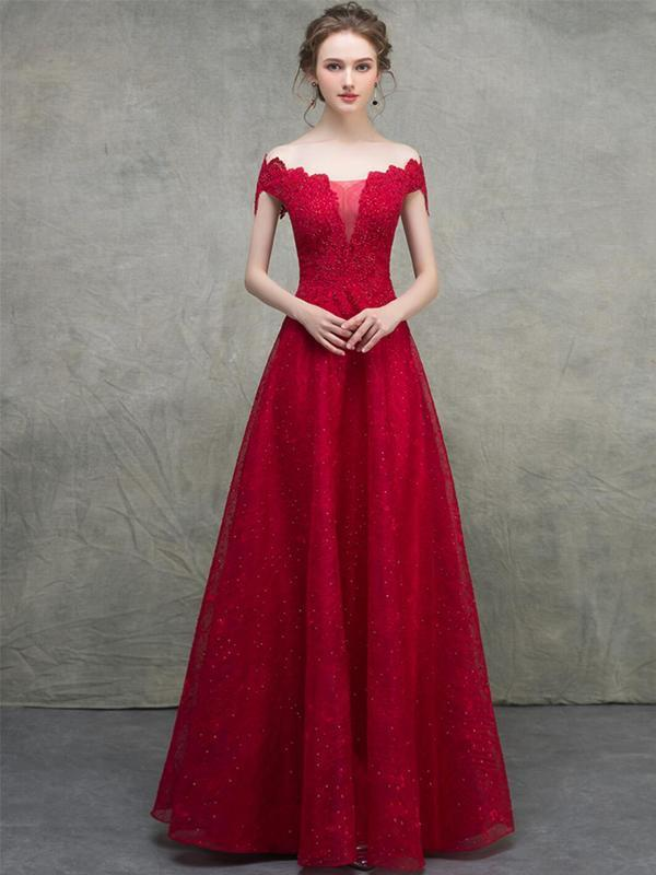Off Shoulder Red Lace Beaded A-line Long Evening Prom Dresses, Evening Party Prom Dresses, 12328