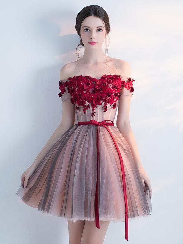 Off Shoulder Red Lace Cheap Short Homecoming Dresses Online, CM692