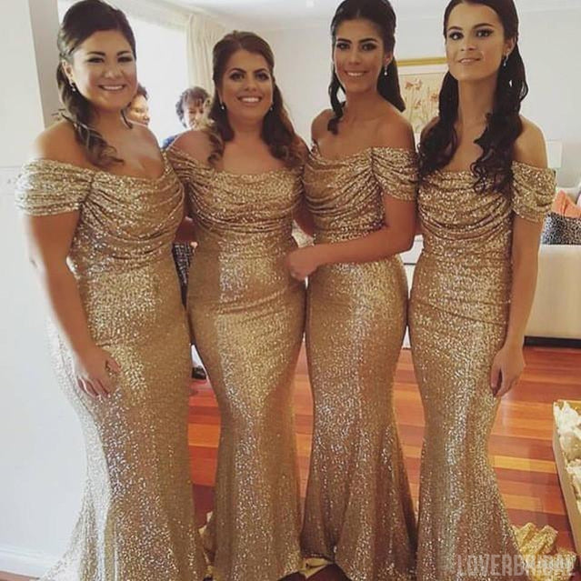 Off Shoulder Sequin Sexy Popular Cheap Long Wedding Bridesmaid Dresses, WG355