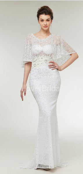 Off Shoulder Sexy Off White Lace Mermaid Evening Prom Dresses, Evening Party Prom Dresses, 12009