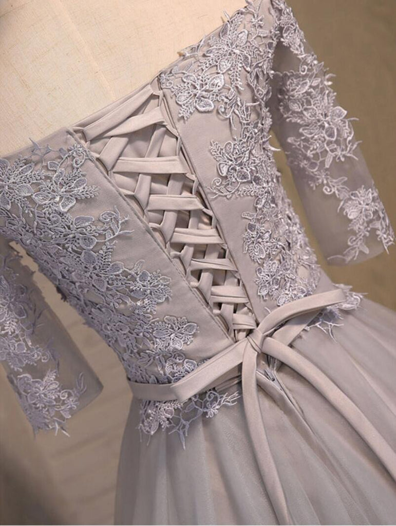 Off Shoulder Short Sleeve Gary Lace Homecoming Prom Dresses, Affordable Short Party Prom Dresses, Perfect Homecoming Dresses, CM269