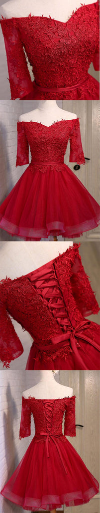 Off Shoulder Short Sleeve Red Lace Cute Homecoming Prom Dresses, Affordable Short Party Prom Dresses, Perfect Homecoming Dresses, CM307