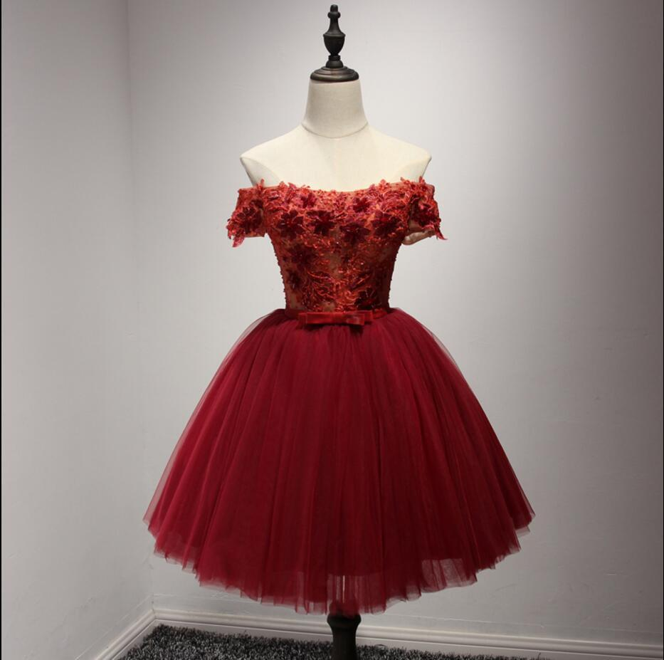 Short red dress with lace corset