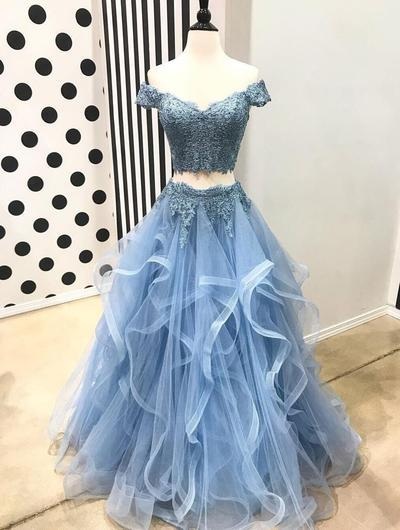 Off Shoulder Short Sleeve Two Pieces Light Blue Lace Long Custom Evening Prom Dresses, 17440