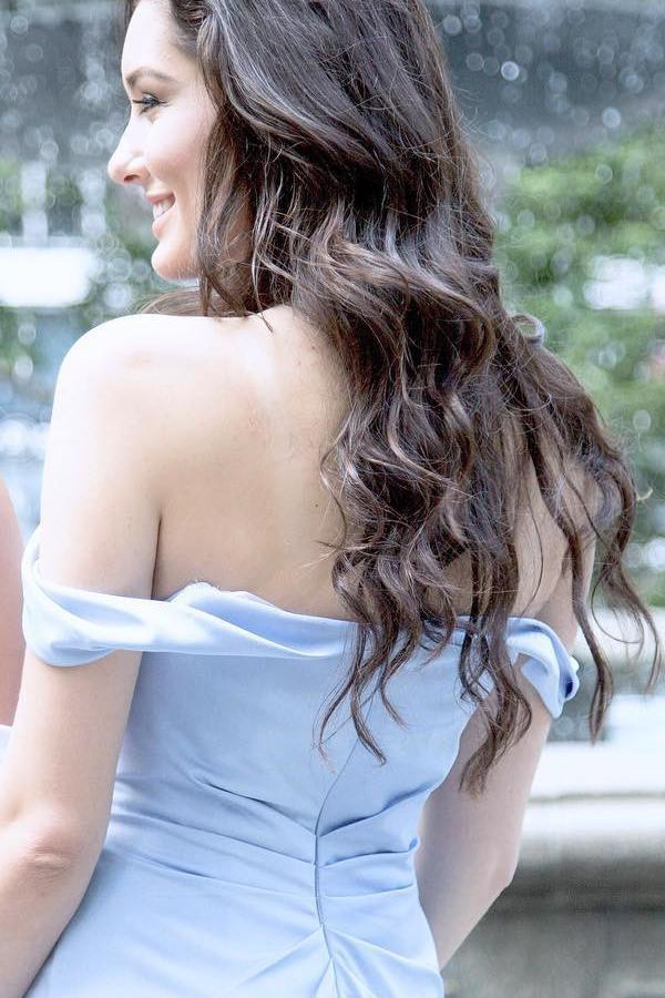 Off Shoulder Side Slit Light Blue Mermaid Long Evening Prom Dresses, 17513