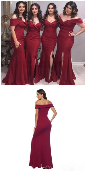 Off Shoulder Side Slit Mermaid Cheap Long Cheap Bridesmaid Dresses Online, WG634