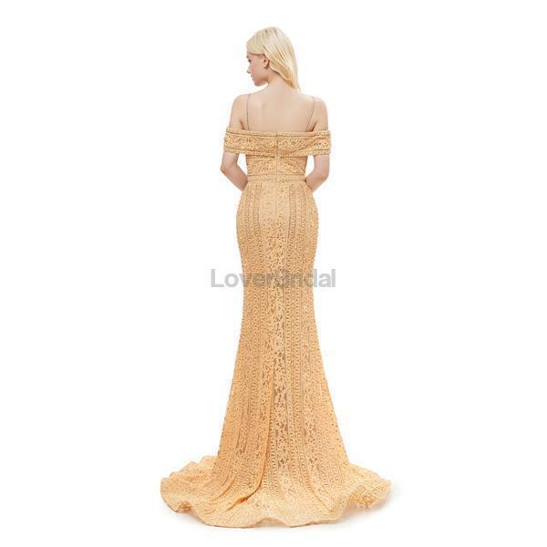 Off Shoulder Spaghetti Straps Gold Lace Evening Prom Dresses, Evening Party Prom Dresses, 12056