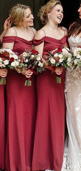 Off Shoulder Spaghetti Straps Red Long Bridesmaid Dresses Online, Cheap Bridesmaids Dresses, WG742