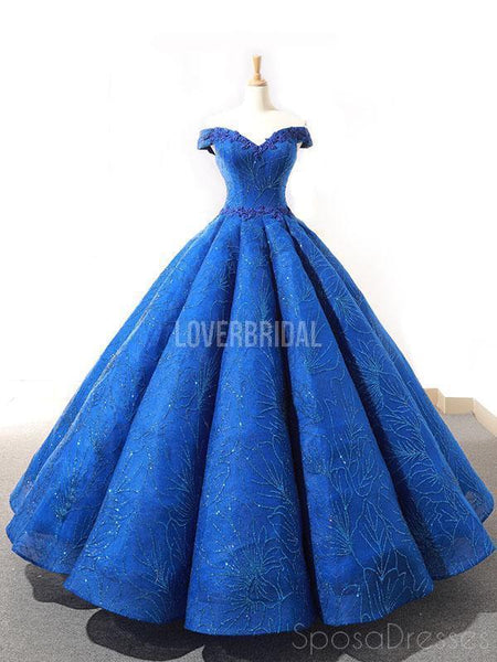 Off Shoulder Sparkly Blue Ball Gown Evening Prom Dresses, Evening Party Prom Dresses, 12262