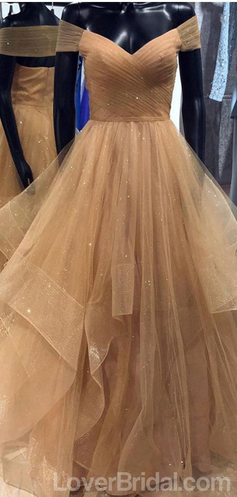 Off Shoulder Sparkly Tulle Long Evening Prom Dresses, Cheap Custom Party Prom Dresses, 18593