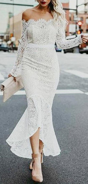 Off Shoulder Vintage Lace Mermaid Cheap Wedding Dresses Online, Long Sleeves Bridal Dresses, WD431