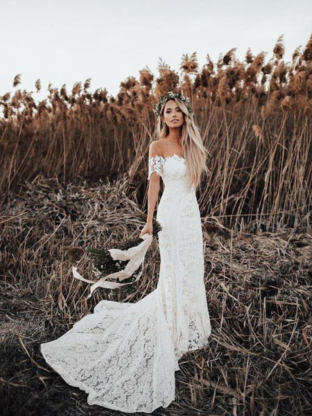 Off Shoulder Vintage Lace Mermaid Cheap Wedding Dresses, Shore Sleeves Bridal Dresses, WD432