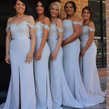 Off Shoulder White Side Slit Mermaid Long Cheap Bridesmaid Dresses Online, WG324