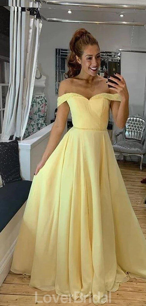 Off Shoulder Yellow A-line Cheap Evening Prom Dresses, Evening Party Prom Dresses, 12178