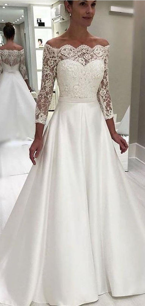 Off The Shoulder Long Sleeves A-line Wedding Dresses, Cheap Wedding Gown, WD713
