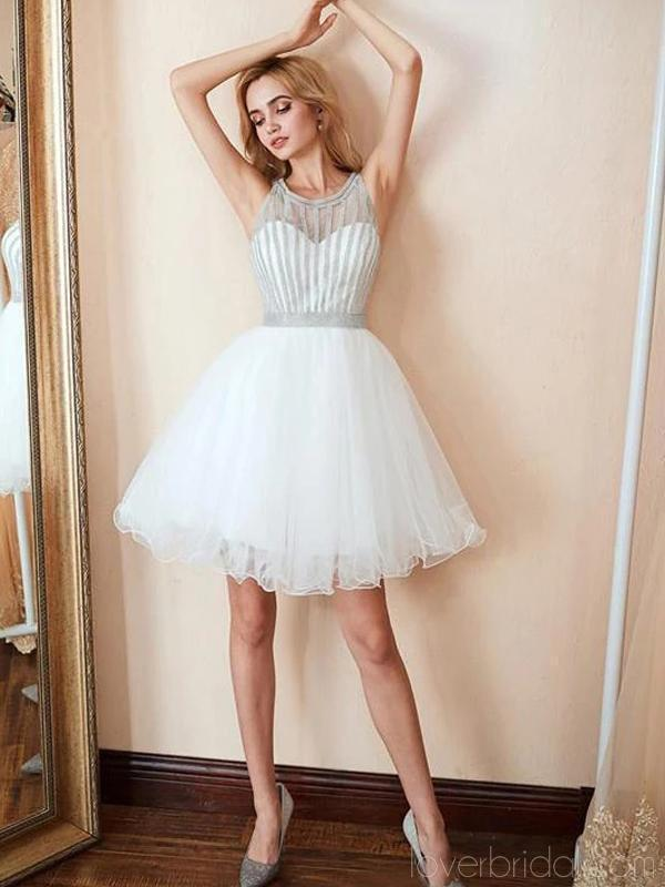Off White Beading String Jewel Cheap Homecoming Dresses Online, Cheap Short Prom Dresses, CM761